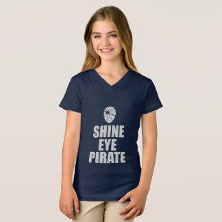 Camiseta Eyepatch do pirata do olho do brilho. Texto claro