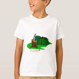 Camiseta Faca e barraca de acampamento