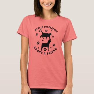 Camiseta Faça uma diferença adotar um amigo