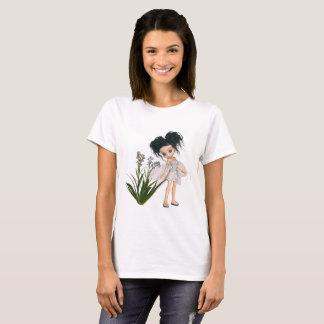 Camiseta Fada Preto-De cabelo bonito do miosótis de Toon