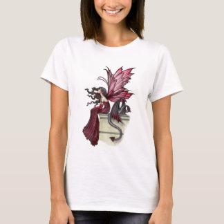 Camiseta Fada vermelha gótico e dragão do rubi agitado