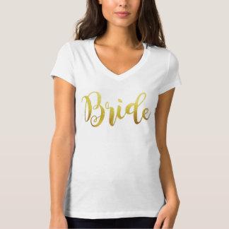 Camiseta Faísca V de Ombre do ouro da noiva - pescoço