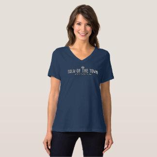 Camiseta Falatório da cidade - o V-Pescoço das mulheres