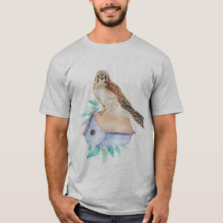 Camiseta Falcão de pardal do Kestrel da aguarela que guarda