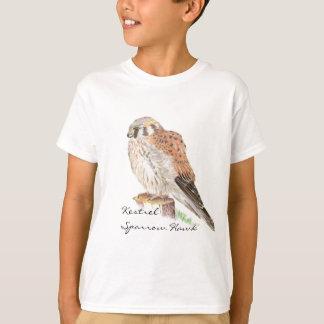 Camiseta Falcão de pardal do Kestrel, pássaro da aguarela