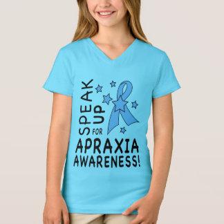 Camiseta Fale acima para a consciência da apraxia