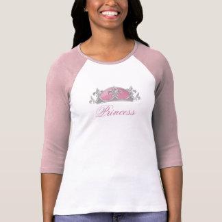 Camiseta Falso cor-de-rosa e coroa de prata com diamantes
