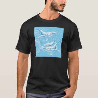 Camiseta Família das baleias azuis