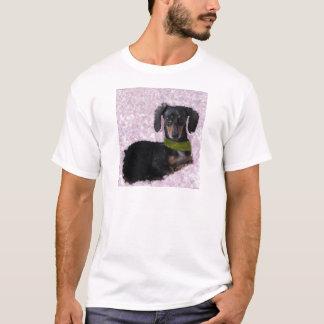 Camiseta Fantasia do verde do rosa do cão do Wiener de