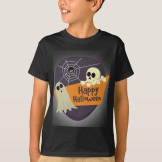 Camiseta Fantasmas felizes e Crossbones do Dia das Bruxas