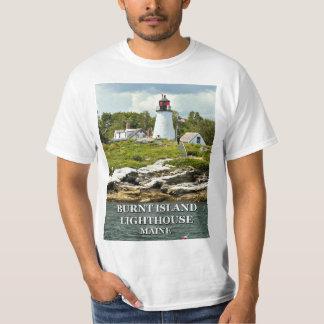 Camiseta Farol queimado da ilha, t-shirt de Maine