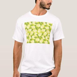Camiseta Fatias e folhas amarelas do limão do verão no