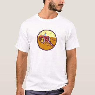 Camiseta Fazendeiro no círculo do trator retro