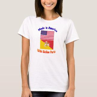 Camiseta Feito em Americia com peças sicilianos