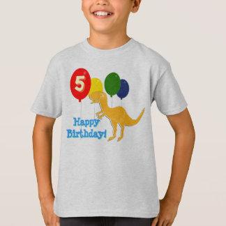Camiseta Feliz aniversario T-Rex 5 anos de t-shirt dos
