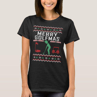 Camiseta Feliz feia Golfmas da camisola do Natal do golfe