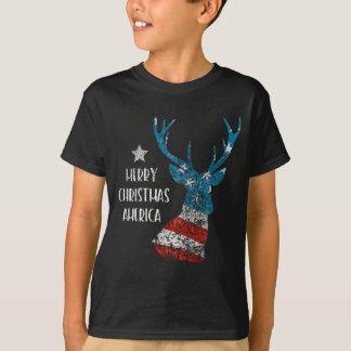 Camiseta Feliz Natal América. Bandeira da rena. Afligido
