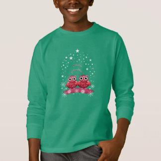 Camiseta Feliz Natal bonito texto e t-shirt das corujas