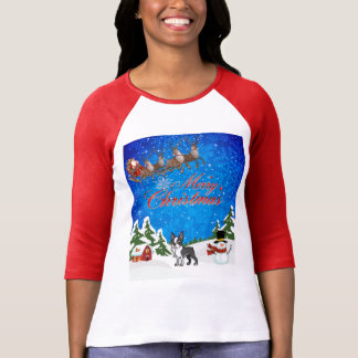 Camiseta Feliz Natal Boston Terrier