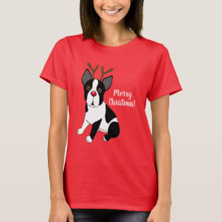 Camiseta Feliz Natal! Cão da rena de Boston Terrier