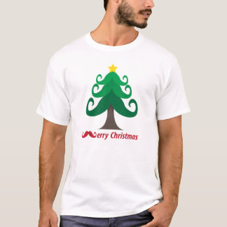Camiseta Feliz Natal com a árvore de Natal do bigode