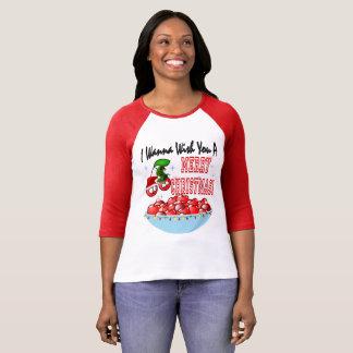 Camiseta Feliz Natal da bacia da cereja