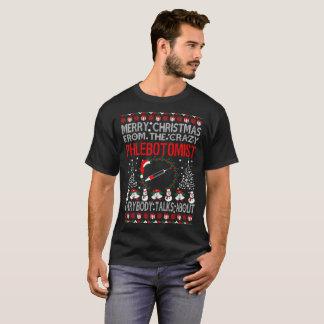 Camiseta Feliz Natal do T feio da camisola de Phlebotomist