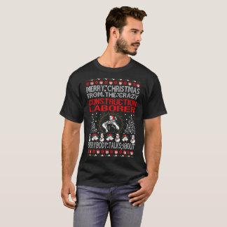 Camiseta Feliz Natal do T feio do trabalhador da construção