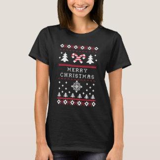 Camiseta Feliz Natal feio do bastão de doces da camisola do