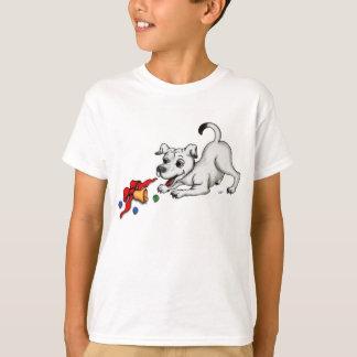 Camiseta Feliz Natal! Filhote de cachorro com Bell e bola