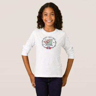 Camiseta Feliz Natal que cumprimenta o t-shirt da menina da