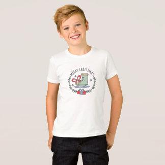 Camiseta Feliz Natal que cumprimenta o t-shirt do menino da