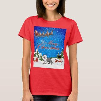 Camiseta Feliz Natal Staffordshire Terrier americano