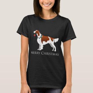 Camiseta Feliz Natal vermelho e branco irlandês do setter