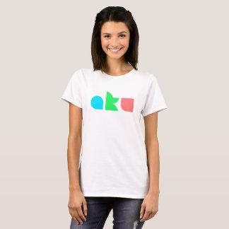 Camiseta Fêmea básica do branco T do logotipo da cor de AKU