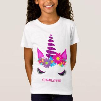 Camiseta Feminino bonito super florido do unicórnio