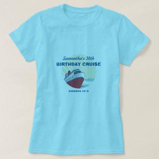 Camiseta Férias do cruzeiro do aniversário com navio de