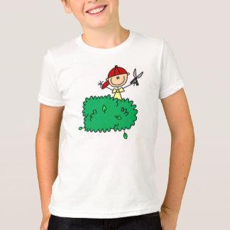 Camiseta Figura arbustos da vara do aparamento do menino