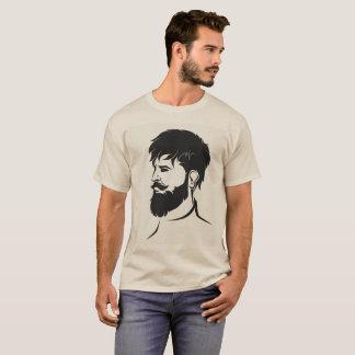 Camiseta figura masculina do hipster com barba