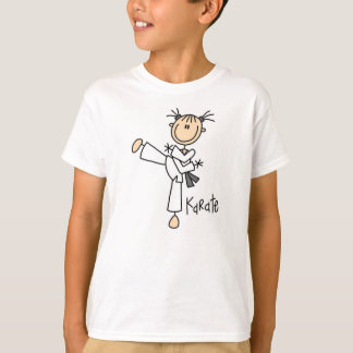 Camiseta Figura t-shirt da vara da menina do karaté