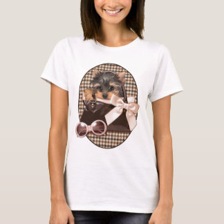 Camiseta Filhote de cachorro de Houndstooth Yorkie
