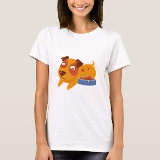 Camiseta Filhote de cachorro de sorriso ao lado do cheio da