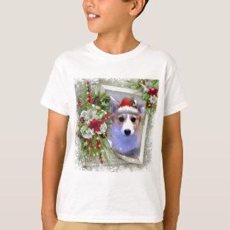 Camiseta Filhote de cachorro do Corgi do Natal no quadro