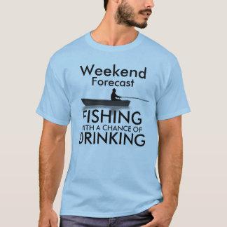 """Camiseta """"Fim de semana previsto: Pesca com uma"""