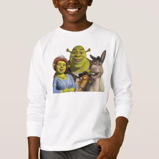 Camiseta Fiona, Shrek, Puss nas botas, e asno