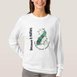 Camiseta Fita 3 da flor do cancro do colo do útero