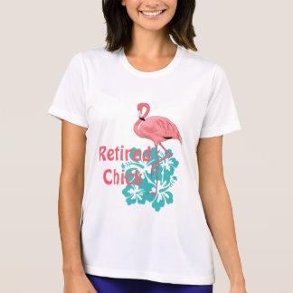 Camiseta Flamingo cor-de-rosa flores tropicais aposentadas
