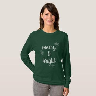 Camiseta Flocos de neve alegres & brilhantes do Natal