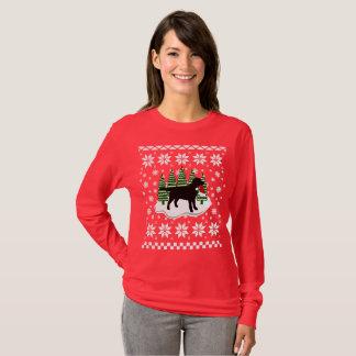 Camiseta Flocos de neve pretos do Evergreen do Natal de
