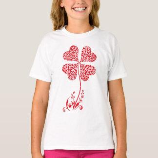Camiseta Flor afortunada dos namorados do coração do trevo